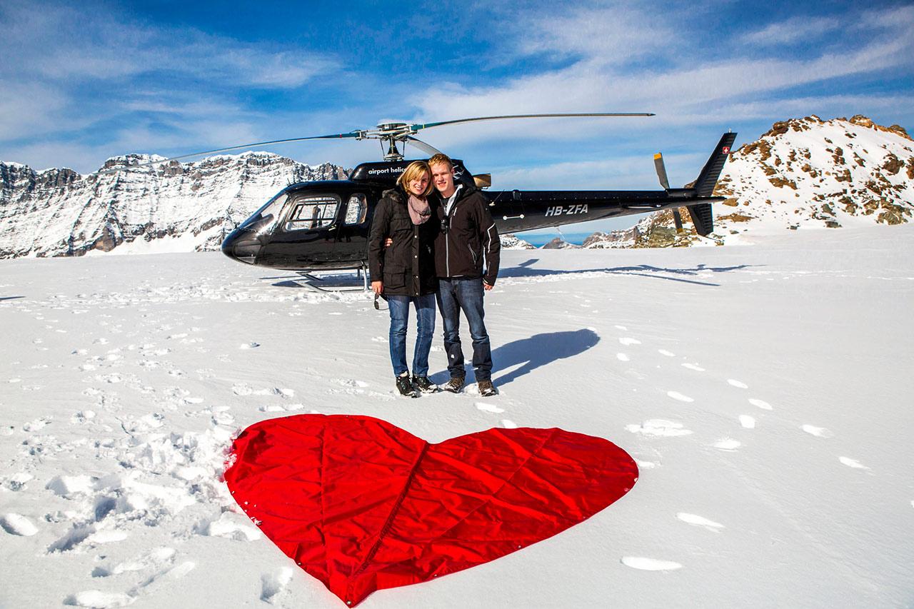 Hubschrauberflug Heiratsantrag