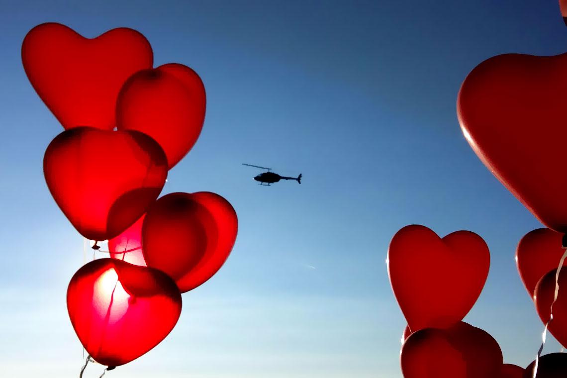 Hubschrauber Heiratsantrag
