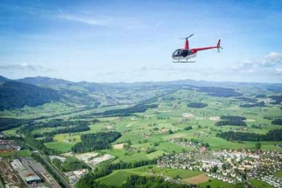 Hubschrauberflug über Augsburg