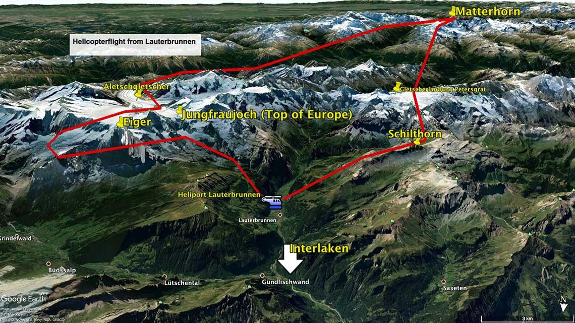 Rundflug Route Matterhorn