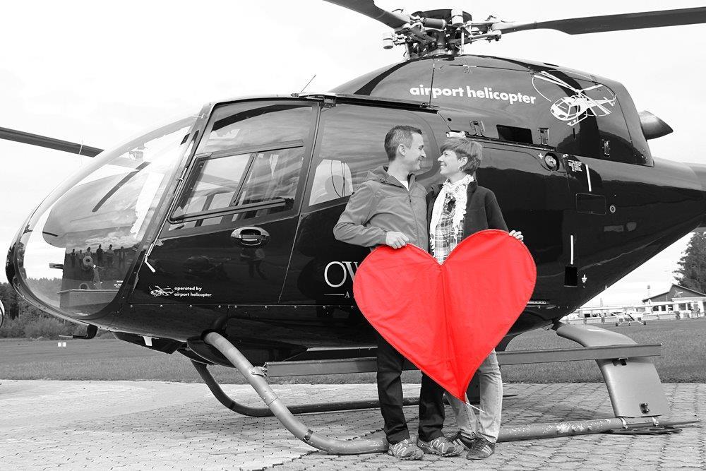 Heiratsantrag Helikopter