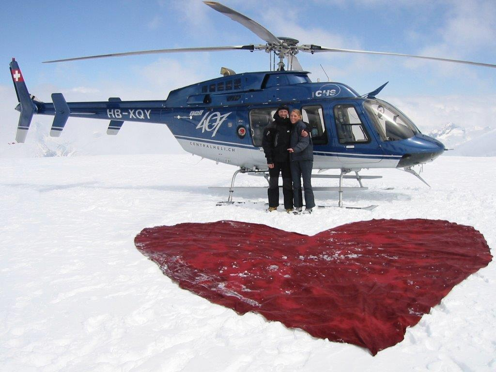 Heiratsantrag Helikopterflug