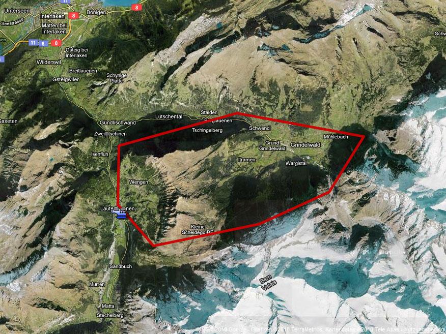 Karte Rundflug Eigernordwand
