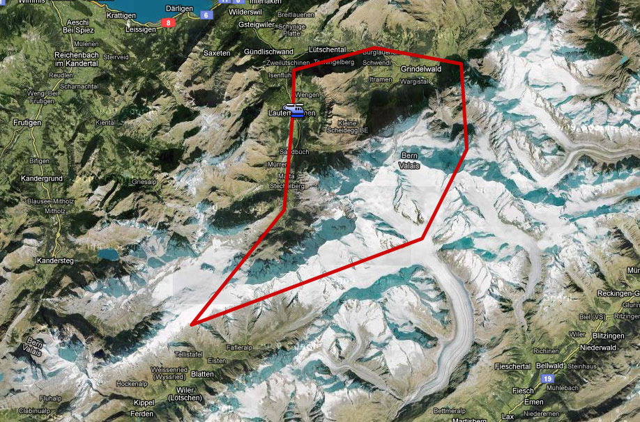 Karte Gletscherflug ab Lauterbrunnen