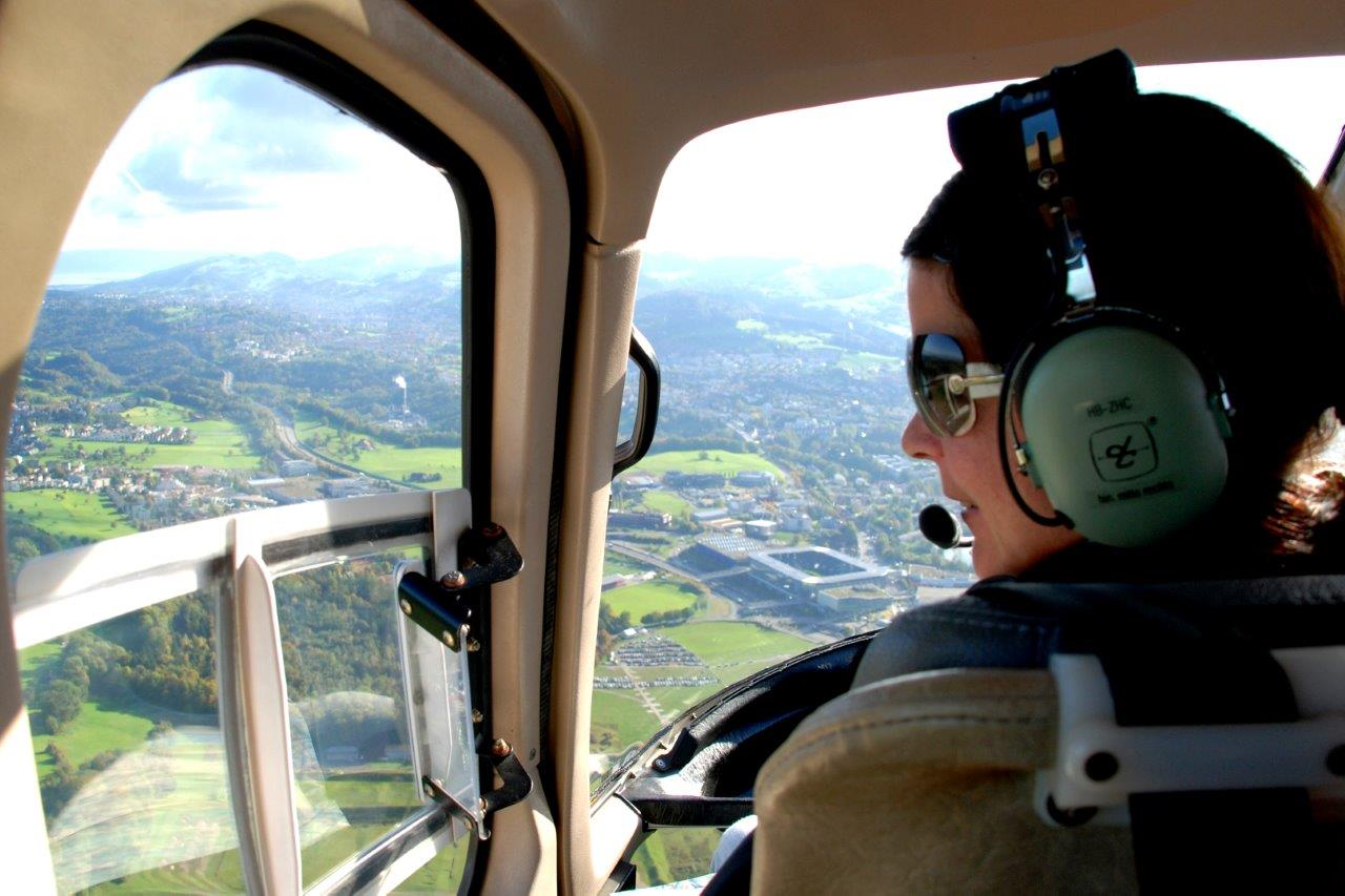 Hubschrauber Cockpit Fluggast