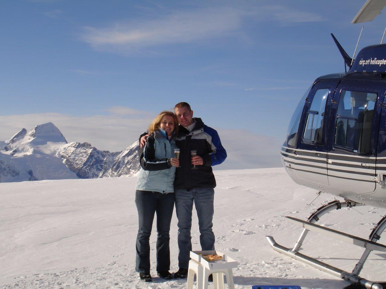 Gletscherflug mit Apéro Bernina Bergell