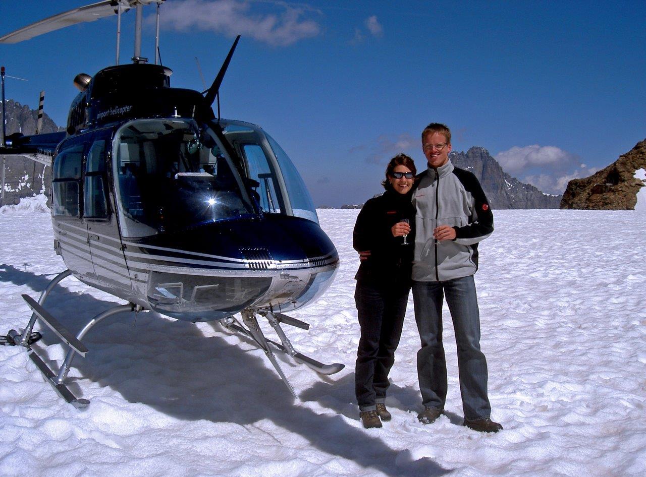 Heiratsantrag Gletscherlandung St. Moritz