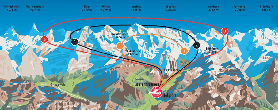 Helikopterrundflug Routen ab Lauterbrunnen